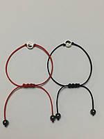 Парные браслеты Инь-Янь черная нить (серебристый цвет)