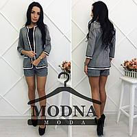 Льняной женский модный костюм: пиджак и шорты серый, M