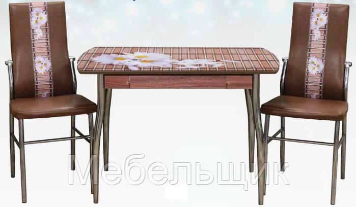 Кухонный стол-23А с фотопечатью и ящиком