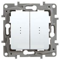 Выключатель / переключатель 2-клавишн с подсветкой (выключатель проходной), белый, Legrand Etika Легранд Этика