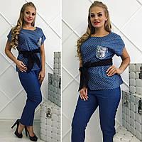 Модная женская блузка с поясом батал / Украина / джинс