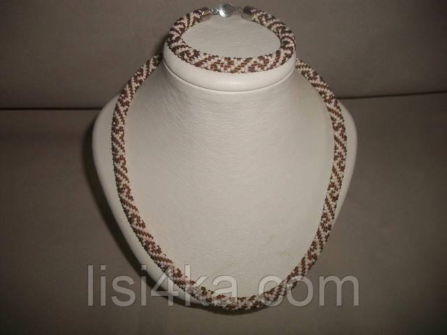 Узорный вязаный комплект жгутов из бисера в греческом стиле