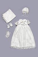 Набор крестильный для девочки с гипюром молочный Модный Карапуз 03-00451-1