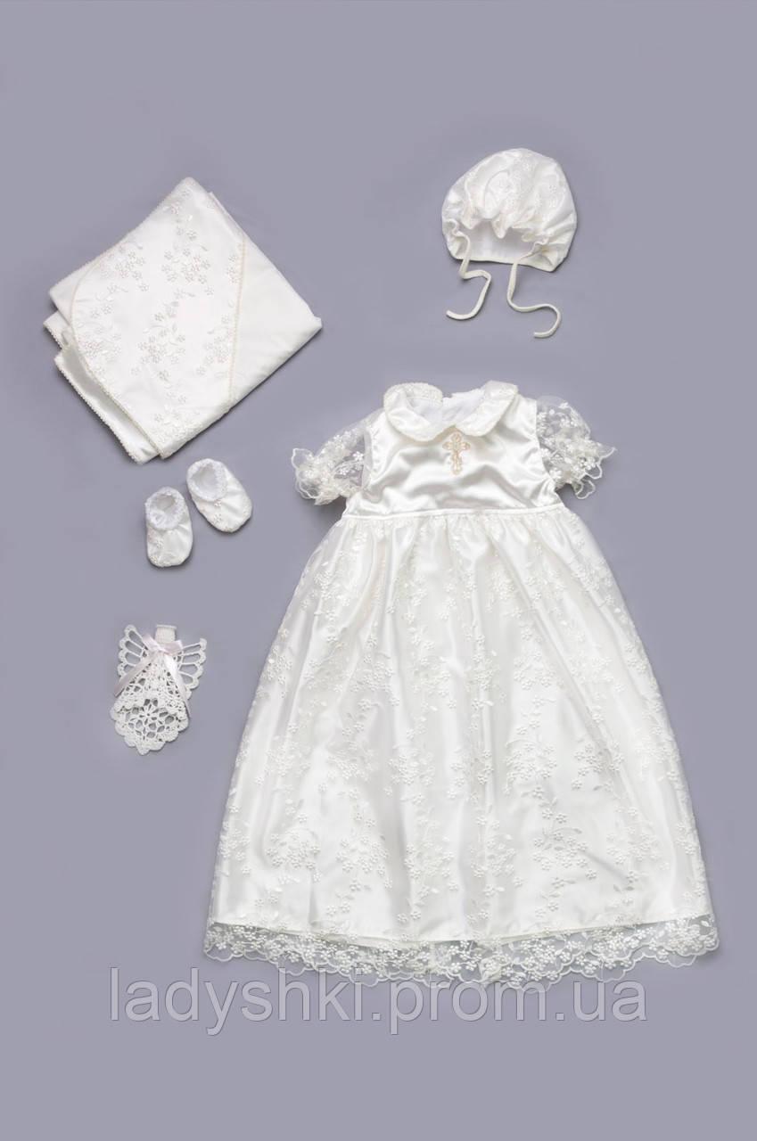abdb2f7dce4e4fb Набор крестильный для девочки с гипюром молочный Модный Карапуз 03-00451-1  - Интернет