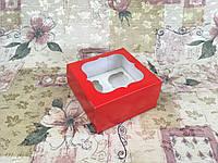 Коробка Красный для 4-ох кексов с окном  170*170*90