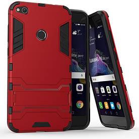 Чехол накладка для Huawei P8 Lite (2017) / Honor 8 Lite противоударный силиконовый с пластиком, Alien, красный