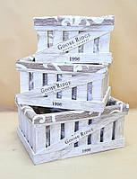 Комплект ящиков деревянных ДКЯ-4 (прямоугольный) + чехол Бело-коричневые