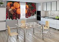 """ФотоШторы для кухни """"Апельсины и корица"""" 1,5м*2,0м (2 половинки по 1,0м), тесьма"""