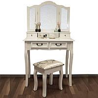 Туалетный косметический столик с зеркалом  Emma + пуф