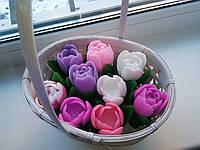 Корзина тюльпанов,  мыло ручной работы