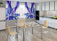 """ФотоШторы для кухни """"Синяя абстракция"""" 1,5м*2,0м (2 половинки по 1,0м), тесьма"""