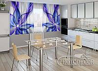 """ФотоШторы для кухни """"Синяя абстракция"""" 1,5м*2,5м (2 половинки по 1,25м), тесьма"""
