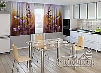 """ФотоШторы для кухни """"Бабочки и цветы"""" 1,5м*2,0м (2 половинки по 1,0м), тесьма"""