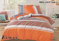 Постельное сатин двуспальный Евро ELWAY. Польша. Комплект постельного белья 220х240 см. 5041