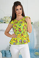 Блузка женская из легкого креп-шифона с цветочным принтом