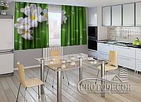 """ФотоШторы для кухни """"Бамбук и цветы"""" 1,5м*2,0м (2 половинки по 1,0м), тесьма"""
