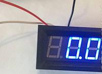 Вольтметр цифровой 0-100V встраиваемый, синий, три провода, фото 1