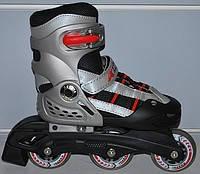 Роликовые коньки раздвижные KEPAI SK-321BK-L (36-39) (PL, PVC, кол.PU, пласт. рама, черный-серый), фото 2