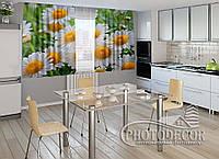 """ФотоШторы для кухни """"Белые ромашки"""" 2,0м*2,9м (2 половинки по 1,45м), тесьма"""