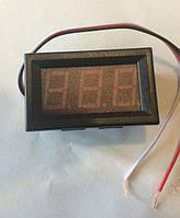 Вольтметр цифровой 0-30V встраиваемый, красный, три провода, фото 1