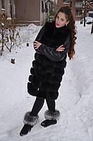 Жилет жилетка из песца с кожаными рукавами