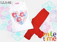 Костюм майка и капри для девочки рост 110,122,128,134,140,146 SmileTime Flower Heart, красный
