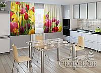 "ФотоШторы для кухни ""Весна"" 2,0м*2,9м (2 половинки по 1,45м), тесьма"