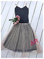Ультрамодная женская юбка (черная сетка, фатин нюдовый, пышная, длина миди)