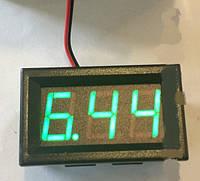 Вольтметр цифровой 4,5-30V встраиваемый, зеленый, два провода, фото 1