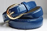 Синий лаковый женский ремень