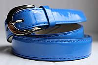 Женский ремень пояс светло синий лаковый