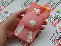 Объемный 3D силиконовый чехол для Samsung Galaxy A7 A700H Заяц розовый