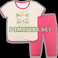 Детская летняя пижама с коротким рукавом р. 110 для девочки тонкая ткань КУЛИР-ПИНЬЕ 100% хлопок 3669 Малиновы
