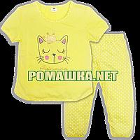 Детская летняя пижама с коротким рукавом р. 104 для девочки тонкая ткань КУЛИР-ПИНЬЕ 100% хлопок 3669 Жёлтый