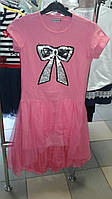 Платье длинное подросток розовое с бантом