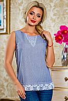 женская летняя блуза без рукавов с кружевом