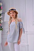 Полосатая льняная блуза на лето