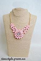 Колье Ожерелье розовое Pink Цветы цветок камни Шарм Винтаж кольэ