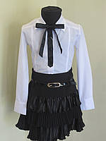 Блузка  детская  288 Белая+чер , фото 1