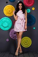 Короткое нежно розовое платье в горошек