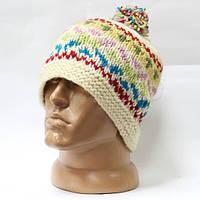 Шерстяная шапка вязаная узор с помпоном