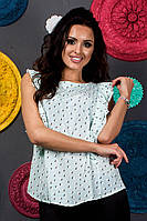 Летняя блуза женская нежно мятного цвета