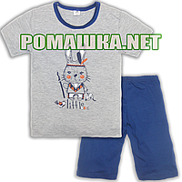 Детская летняя пижама с коротким рукавом р. 104 для девочки тонкая ткань КУЛИР-ПИНЬЕ 100% хлопок 3668 Серый