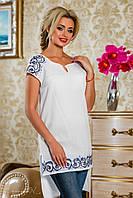 женская белая туника асимметричная с вышивкой