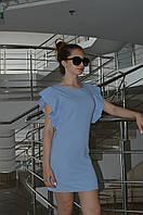 Женское однотонное платье с рюшой Italy