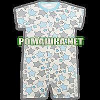 Детский песочник-футболка Звезды р. 74 ткань КУЛИР-ПИНЬЕ 100% тонкий хлопок ТМ ПаМаМа 3666 Бирюзовый