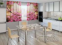 "ФотоШторы для кухни ""Сакура"" 1,5м*2,0м (2 половинки по 1,0м), тесьма"