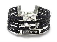 Браслет наручники бесконечность best friend infinity черный разные цвета шнура друзья
