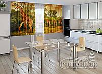"ФотоШторы для кухни ""Жирафы"" 2,0м*2,0м (2 половинки по 1,0м), тесьма"