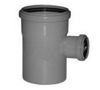 Тройник ПВХ Wavin с раструбами и уплотнительными кольцами для внутренней канализации серый 110х50/88º